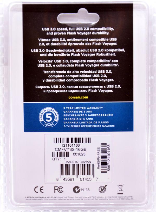 Corsair Flash Voyager USB 30 16GB Box Back