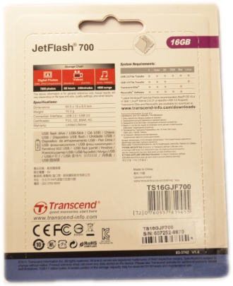 Transcend JetFlash 700 USB 30 16GB Box Back
