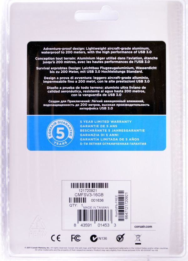 Corsair Flash Survivor USB 30 16GB Box Back