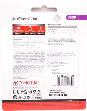 Transcend JetFlash 780 USB 30 16GB Box Back
