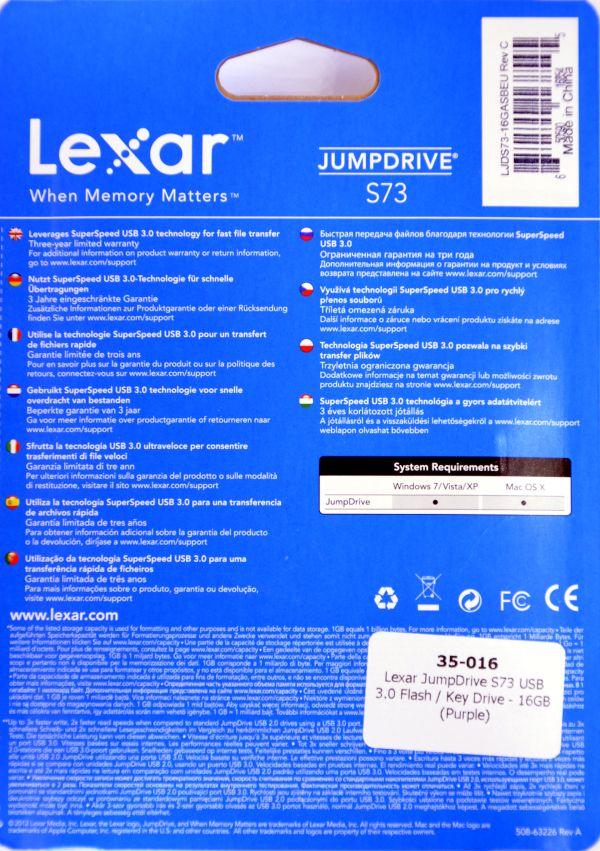 Lexar JumpDrive S73 USB 30 16GB Box Back