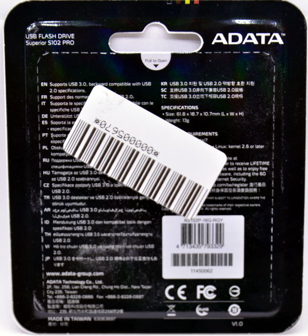 Adata S102 Pro USB 30 16GB Box Back