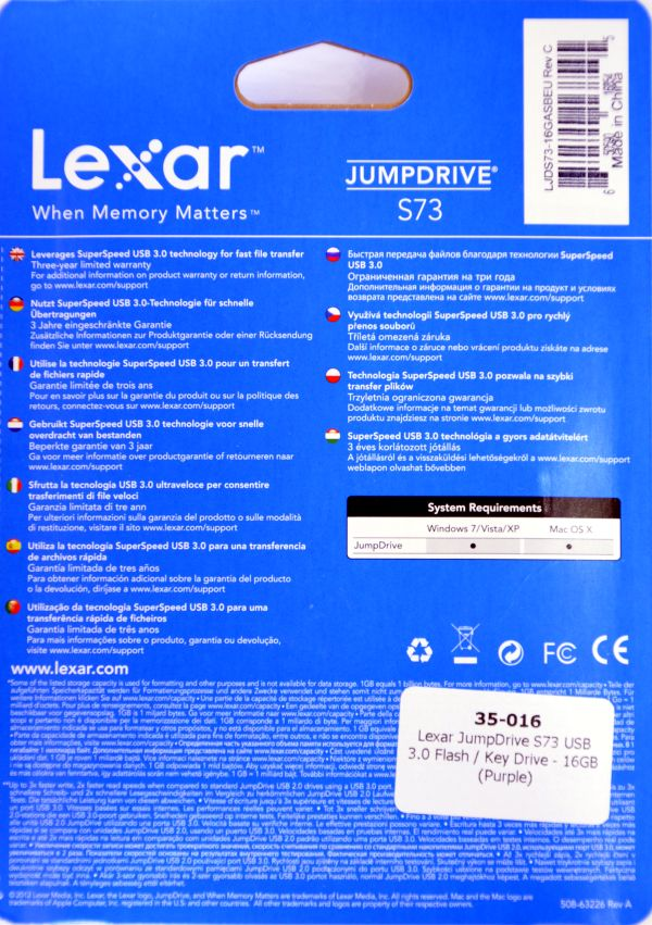 Lexar JumpDrive S73 USB 30 16GB Box Back