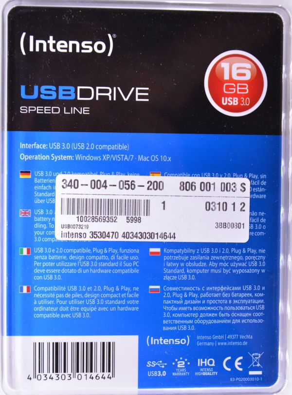 Intenso Speed Line USB 30 16GB Box Back