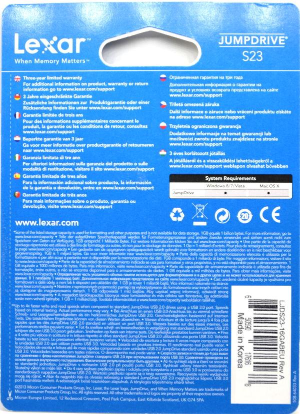 Lexar JumpDrive S23 USB 30 16GB Box Back